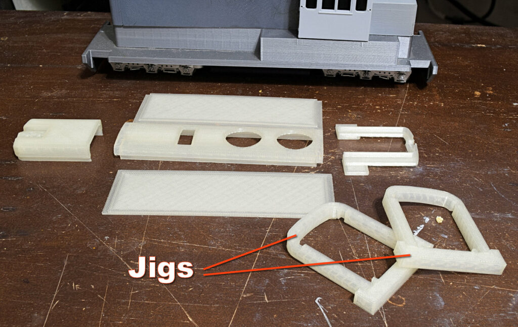 Jigs to help align the top and sides of the long hood for my On30 Narrow Gauge Road Engine