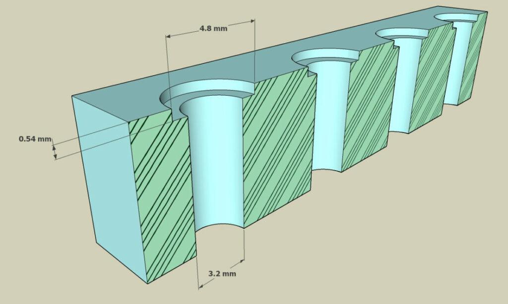 EZ Lok test print sectional view